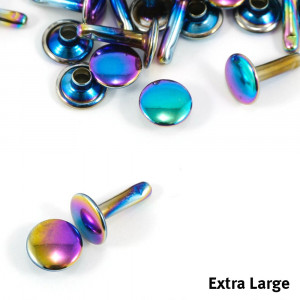Emmaline Bags Metal Double-Capped Rivets Iridescent Rainbow Extra Large Size 9mm x 12mm - 50pk