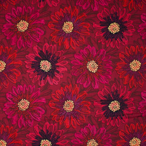 Shiny Objects Good As Gold Embossed Blooms Ruby by RJR Fabrics