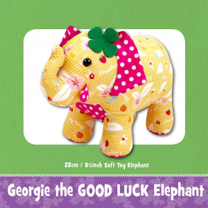 Georgie the Good Luck Elephant Soft Toy Sewing Pattern by Funky Friends Factory