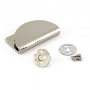 Emmaline Bags Half Moon Magnetic Clasp Silver