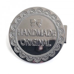 "Monica Poole Designs Handmade Original 40mm (1-1/2"") Metal Bag Label Silver"