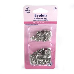 "Hemline Eyelet Refills 5.5mm (1/4"") 60pc Silver"