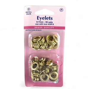 "Hemline Eyelet Refills 8.7mm (5/16"") 36pc Gold"