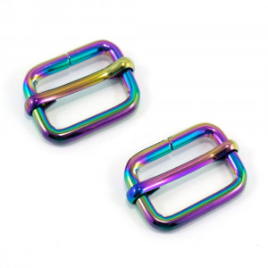 "Emmaline Bags Slide Adjusters 20mm (3/4"") Iridescent Rainbow - 2pk"