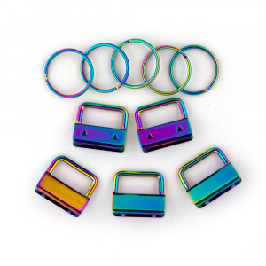 "Voodoo Bag Hardware Key Fob Hardware 25mm (1"") Iridescent Rainbow - 5pk"