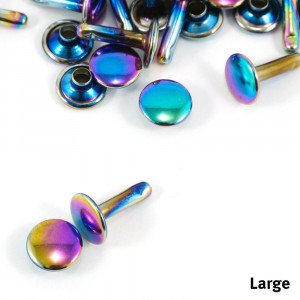 Emmaline Bags Metal Double-Capped Rivets Iridescent Rainbow Large Size 9mm x 10mm - 50pk