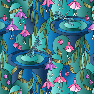Reflections Dragonfly Floral Greens & Blues by Lewis & Irene
