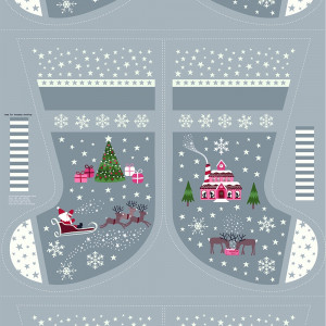"Christmas Glow Stocking 36"" Fabric Panel Grey by Lewis & Irene"
