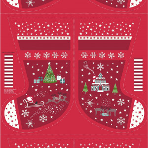 "Christmas Glow Stocking 36"" Fabric Panel Red by Lewis & Irene"