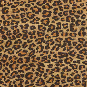 "Portuguese Natural Printed Cork Leopard Print - Sizing from 70cm x 50cm (27-1/2"" x 19-1/2"")"
