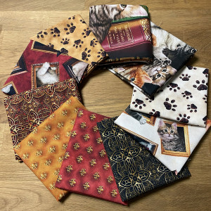 Literary Kitties FQ and Panel Pack 10pc by Quilting Treasures