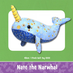 Nate the Narwhal Soft Toy Sewing Pattern by Funky Friends Factory