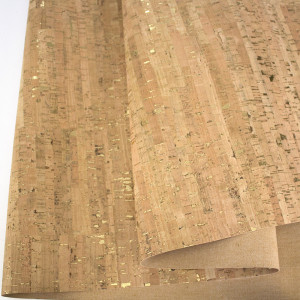 "Portuguese Natural Cork Fabric with Gold Flecks - Sizing from 70cm x 50cm (27-1/2"" x 19-1/2"")"