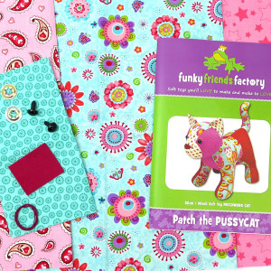 Funky Friends Factory Patch Pussy Cat Teal and Pink Soft Toy Making Kit