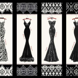 Couture Noir Dress Fabric Panel Black by P & B Textiles