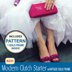 Modern Clutch Starter Pack (Purse Sewing Pattern with 1 Antique Gold Frame) by Pink Sand Beach Designs