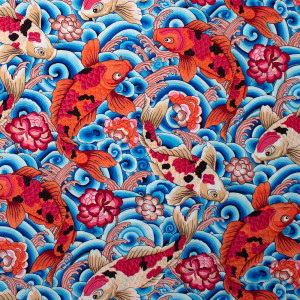Snow Leopard Designs Silk Road Leaping Carp Blue By Free Spirit Fabric