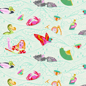 Tula Pink Curiouser and Curiouser Sea of Tears Wonder Cream By Free Spirit Fabric