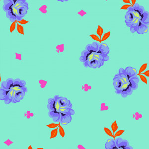 "PRE-ORDER Tula Pink Curiouser and Curiouser 108"" Backing Fabric Big Buds Daydream Aqua by Free Spirit Fabrics"