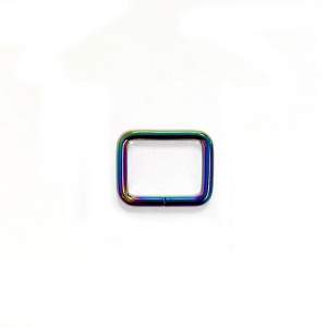 "Voodoo Bag Hardware Rectangular Rings 25mm (1"") Iridescent Rainbow - 4 pk"