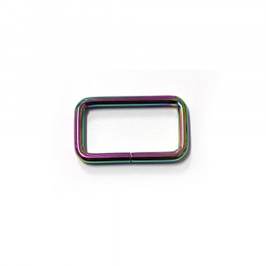 "Voodoo Bag Hardware Rectangular Rings 40mm (1-1/2"") Iridescent Rainbow - 4 pk"