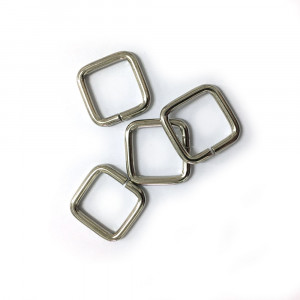"Voodoo Bag Hardware Rectangular Wire Rings 12mm (1/2"") Silver - 4 pk"