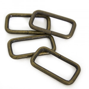"Voodoo Bag Hardware Rectangular Wire Rings 31mm (1-1/4"") Antique Brass - 4 pk"