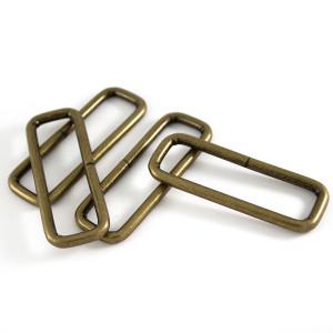 "Voodoo Bag Hardware Rectangular Wire Rings 50mm (2"") Antique - 4 pk"