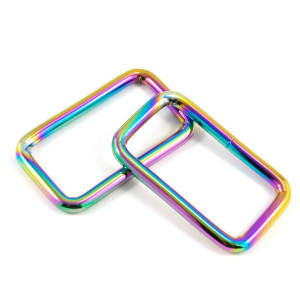 "Emmaline Bags Rectangular Rings 40mm (1-1/2"") Iridescent Rainbow - 4pk"