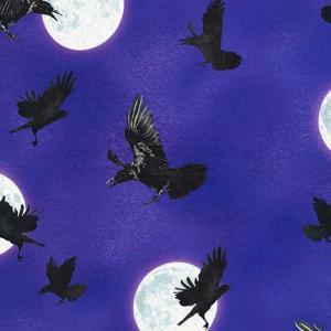 Raven Moon Flying Ravens Purple by Robert Kaufman Fabric