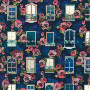 Happy Place Window and Flowers Blue by Robert Kaufman