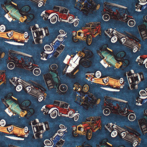 On the Road Vintage Cars Blue by Robert Kaufman Fabric