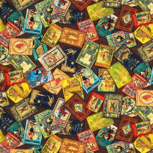 Library of Rarities Scattered Books Mini Multi by Robert Kaufman Fabric