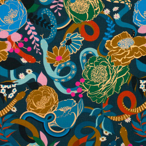 Ruby Star Society Rise Dream (Flowers and Snakes) Peacock by Moda Fabrics