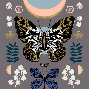 "Ruby Star Society Tiger Fly Mother Butterfly Panel Metallic Slate Grey 23"" Fabric Panel by Moda Fabrics"