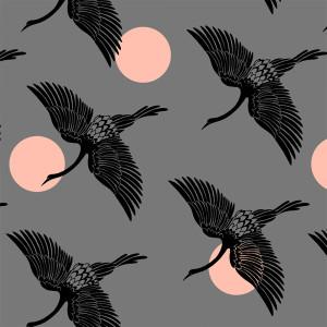 Ruby Star Society Florida Egrets Slate Grey by Moda Fabrics