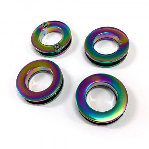 """Emmaline Bags Screw Together Grommets 20mm (3/4"""") Round in Iridescent Rainbow - 4pk"""