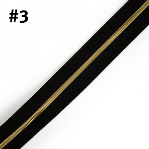 "Voodoo Bag Hardware (Size #3) Handbag Zipper Black Tape with Gold Teeth 3m (157"") No Pulls"