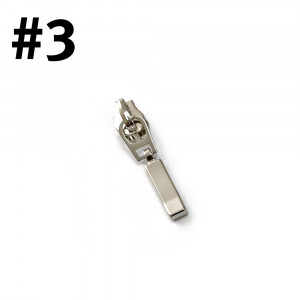 #3 Zipper Head Rectangle Drop Silver