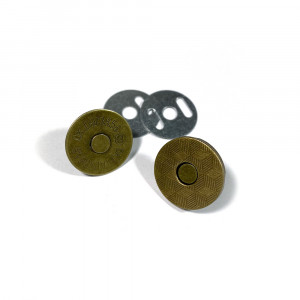 "Voodoo Bag Hardware Magnetic Catch Slim 18mm (3/4"") Antique Brass - 1pk"