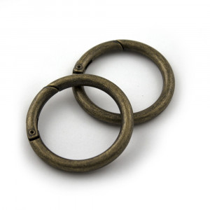 "Voodoo Bag Hardware Snap O-Ring 40mm (1-1/2"") Antique Brass - 2pk"