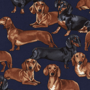 Dachshunds Navy by Timeless Treasures