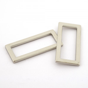 "Voodoo Bag Hardware Flat Alloy Oblong (Rectangular) Rings 40mm (1-1/2"") Silver - 2 pk"
