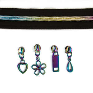 "Voodoo Bag Hardware (size #5) Zippers by the Meter Black Tape Iridescent Rainbow Teeth 3m (118"") with 12 pulls - Mix Pack"