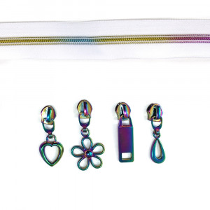 "Voodoo Bag Hardware (size #5) Zippers by the Meter White Tape Iridescent Rainbow Teeth 3m (118"") with 12 pulls - Mix Pack"