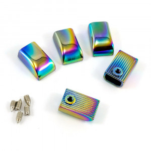 Emmaline Bags Metal Zipper Ends Iridescent Rainbow - 5 Pack