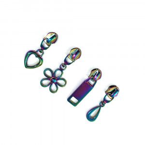 Voodoo Bag Hardware (size #5) Zipper Pulls Iridescent Rainbow