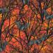 Raven Moon Spooky Trees and Bats Orange by Robert Kaufman Fabric